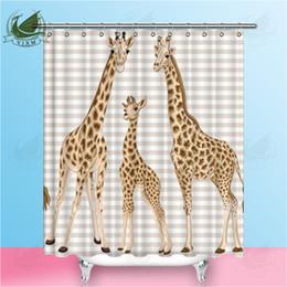 $enCountryForm.capitalKeyWord Australia - Vixm Beige Striped Cartoon Cute Giraffe Family Shower Curtains Cute Animal Cat Waterproof Polyester Fabric Curtains For Home Decor