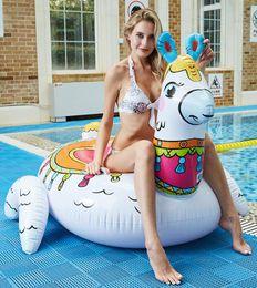 Large horse toys online shopping - New large inflatable alpaca mattress Bohemia style swim ring floats swimming pool floating animal horse seat rings swan sofa lounge toy
