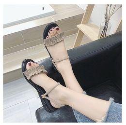 $enCountryForm.capitalKeyWord Australia - New low heels suede women designer sandals lady fashion casual beach shoes female slippers green khaki black pink color no1791