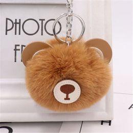 $enCountryForm.capitalKeyWord NZ - New Hot Unisex Keychains Fake Rabbit Fur Ball Key Chain Bear Key Chain Fluffy Pompom Ball Handbag Car Keyrings Fashion Jewelry