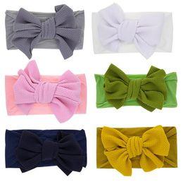$enCountryForm.capitalKeyWord Australia - Baby Girls Kids Toddler Solid Big Bow Hairband Elastic Headband Stretch Turban Knot Head Wrap Nylon Headband Hair Accessories
