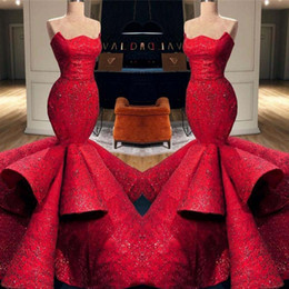 Strapless Sequin Red Dress Australia - Charming Red Mermaid Prom Dresses Sexy Strapless Sparkly Sequins Evening Gowns Ruched Tiered Sweep Train Arabic Formal Party Dress