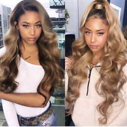 Dark roots wig online shopping - Honey Blonde Lace Front Wig Glueless Full Lace Wigs Human Hair Ombre Wig Black Roots B Body Wave Brazilian Virgin Hair