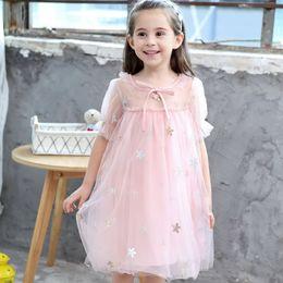 Children Straight Gown Styles Australia - Summer style girl dress children mesh star embroidered princess dress kids baby evening dress