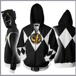 Power Clothes NZ - BIANYILONG 2019 New Autumn Winter 3D Printed Power Rangers Hoodies Power Rangers Black Cosplay Zip Up Hoodie Jacket clothing