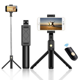 New 3 in 1 Mini Selfie Tripod and Wireless Bluetooth Selfie Stick with Remote Control for iphone X samsung S10+ Portable Bluetooth Monopod on Sale