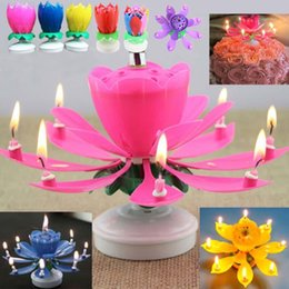 romantic music gifts UK - 2017 Romantic Musical Lotus Flower Happy Birthday Party Gift Music Candle Lights