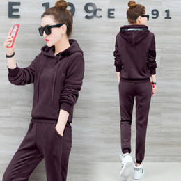 $enCountryForm.capitalKeyWord Australia - YICIYA Velvet 2 piece set tracksuits women 2pcs outfit sportswear winter co-ord set plus size hooded top and pant suits clothes