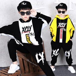 boys letter sweater jacket Canada - 2 Sets Children's Clothing Spring and Autumn New Boys Fashion Sweater Sports Pants Novelty Hip Hop Jacket Hooded Loose Coat 3-12 Years