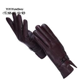 Genuine Leather Gloves Wholesale Australia - YIYIYUNSHU Women winter Real Sheepskin Leather Gloves Cashmere Warm Genuine Leather Gloves Lady Fashion wholesale