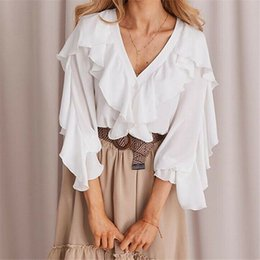 Ladies white button down shirts online shopping - Women Ladies Deep V Neck Button down Chiffon Ruffle Long Elastic Puff Sleeve Loose Shirts Top Summer Cool Blouse