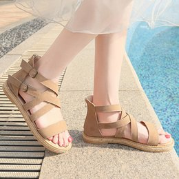 Summer Ladies Sandals Australia - KLV Women's Summer Shoes Sandals Ladies Casual Buckle Strap Flat Open Toe Breathable Sandals Rome Beach Shoes Zapatos De Mujer