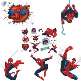 spider stickers decals Australia - Wall Stickers 3D Spider Man Stickers Home Wall Decor Kids Room Bedroom Decoration DIY Cartoon Poster Mural Wallpaper Wall Decals