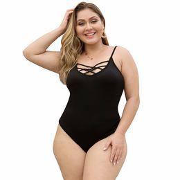 $enCountryForm.capitalKeyWord UK - Women Jumpsuit Plus Size O-neck Crossover Mesh Belt Hollow Out Backless Skinny Large Size Wild Beach Swimsuit Sling Bodysuits