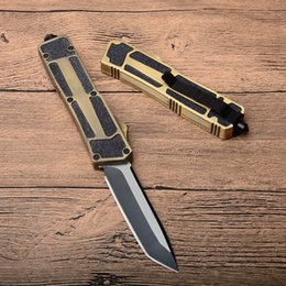 utility pocket knives Australia - Utility Double Action AUTO Tactical Knives Single Fine Blade Tanto Point Gold Handle Outdoor EDC Pocket Survival Gift Knife P704M F