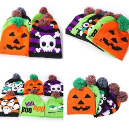 $enCountryForm.capitalKeyWord Australia - Hot Led Halloween Knitted Hats Kids Baby Moms Warm Beanies Crochet Winter Caps For Pumpkin Acrylic skull cap party decor gift props 5125