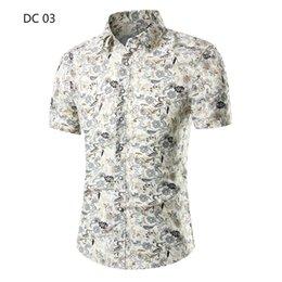 Discount plus size white button down shirt - 2019 New Mens Beach Hawaiian Shirts Tropical Summer Short Sleeve Shirts Mens Clothing Casual Loose Button Down Plus Size