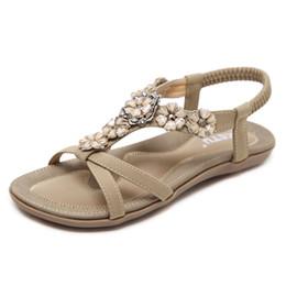 6461f241813f2a Women Flip Flops Bohemia Flat Sandals Open-Toe Summer Casual Clip Toe Beads  Slipper Flower Thong Shoes Shoes