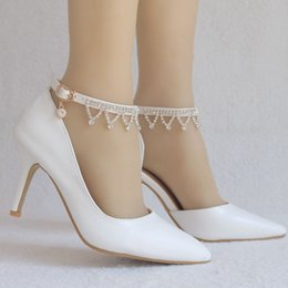 $enCountryForm.capitalKeyWord Australia - Crystal Queen Rhinestone Flowers Women Thin High Teels Pointed Toe High Heels Wedding Shoes Party Heels Women Shoes