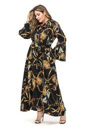 Bell Patterns Australia - Women Large Chiffon Dress Lady Prints Dresses Muslim Geometric Patterns Bell Sleeve Bow Sashes Middle East One-piece 2XL-5XL