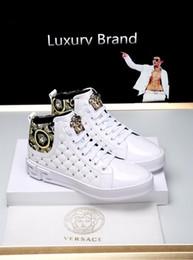 2019p лето новый стиль бренда личности мужчин на высокой верхней вскользь ботинки высокого качества моды диких шнуровке размер тапки: 38-44 на Распродаже