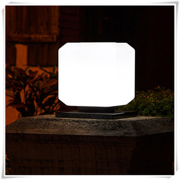 wall lanterns outdoor solar light UK - Square Solar Power Lights Outdoor Garden Park Fence Post Light Piller Lighting Waterproof Column Pillar Lantern Wall Lamp