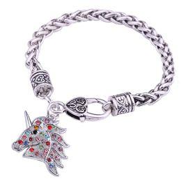 Lobster Claw Necklace Australia - lemegeton Fashion New Design Wholesale Zinc Alloy Rhinestone Necklace Double Horseshoe and Horsehead Charm Jewelry Gift