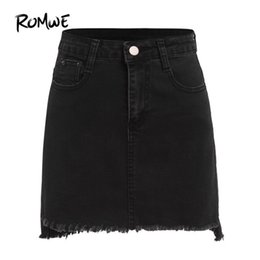 3df66deae Romwe Autumn Mini Casual Skirts For Women Plain Black With Pockets Above  Knee Denim Bodycon Streetwear Punk Skirt Q190426