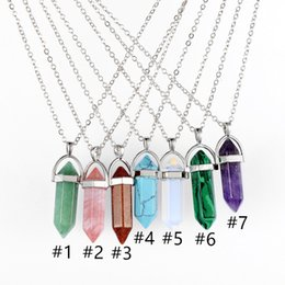 bullet gifts Australia - Bullet Pendants Necklace Stainless Steel Chain Jewelry Natural Stone Crystal Necklace Hexagonal Gift Chain Necklaces A03