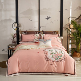 wind machine NZ - free shipping Classic atmosphere new Chinese style 60 cotton embroidery flower cotton four-piece set of classical celebrity wind bedding