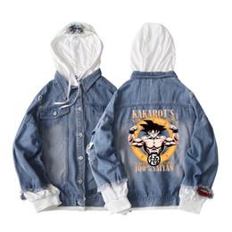 65e227691cfe7 Men Embroidery Jacket Trendy Fashion Fake 2 Pieces Denim Coats Anime Goku  Printed Outwear Male Cowboy Plus Size 3XL