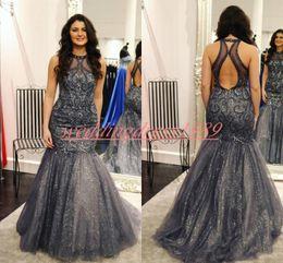 Grey sequin red carpet dress online shopping - Bling Sequins Beads Mermaid Evening Dresses Hollow Grey African Party Prom Saudi Dubai Vestidos De Festa Plus Size Formal Guest Gowns