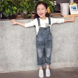 jeans girls suspenders Canada - Baby Girls Overalls Spring Autumn Denim Jumpsuit Korean Style Long Jeans Casual Washed Rompers Pocket Button Suspender Trousers Casual Jeans