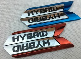 Vw Car Decals Stickers Australia - 3D Metal HYBRID Car Fender Emblem Badge Sticker Decal For Toyota Ford Focus Chevrolet Cruze Kia Skoda VW