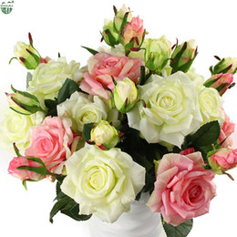 Real Flower Setting Australia - Real Touch Rose Sets Bouquet Latex Coated Silk Flower Home wedding marrige party Decoration Flower Decorative Artificial Flowers Q190429