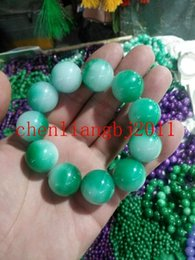 natural jade stones NZ - hot 100% Natural jade Stone green Jade 20mm Bead Beads Bangle Stretchy Bracelet New