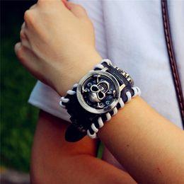 Pirate bracelets men online shopping - Promotion man skull Bracelet Retro leather Pirate quartz watches women new Punk Flip wristwatches