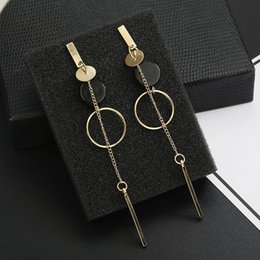 longest earrings NZ - Korean Fashion Long Slope Geometric Asymmetry Rhinestone Circle Earrings New Acrylic Earring For Women Gift Party Wedding