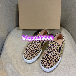 Shoes Metal Print Australia - women round toe flat shoes loafers leopard with metal studs rivet loafer casual skate shoes slip-on elastic band spring flat skateboard shoe