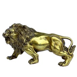 Decor Ornament UK - OHAYA African Lion Statue Golden Wealth Figurine Home Decor Gift Ornaments Fengshui Handmade Brass Magical and Noble