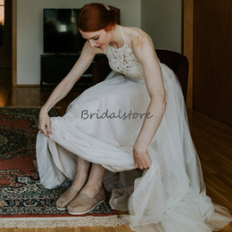 Ruched Halter Wedding Dresses Australia - Halter Cheap Boho Wedding Dresses Top Lace Backless Full Length Tulle Bohemian Bridal Gowns A Line Sleeveless Custom Made robe de mariée