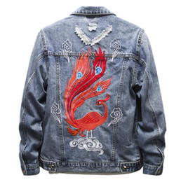 Clouds Jacket Australia - Men's Slim Embroidered Phoenix Jeans Jackets Cloud Patch Design Blue Denim Fashion Hip Hop Coat Embroidery Ripped Outerwear