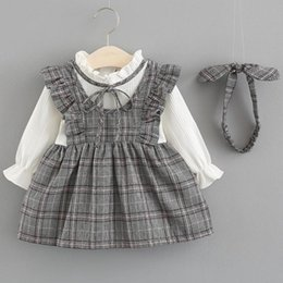Plaid Clothes Australia - 2018 Autumn Newborn Infant Baby Children Plaid Clothes Girls Princess Ruffles Dress Kids Party Birthday Dresses For Girl Jw6770 Y19061101