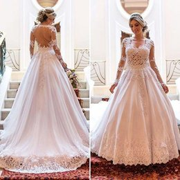 china gold sexy NZ - 2018 Vintage Wedding Dresses Long Sleeves Lace Applique Bridal Dresses China Sexy Backless Square Neck A Line Wedding Gowns