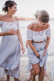 Evening Dresses For Weddings Cheap Australia - 2 Pieces Off Shoulder Bridesmaid Dresses For Beach Wedding Lace Tea Length Country Wedding Dress Evening Gowns Maid Of Honor Dresses Cheap