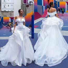 $enCountryForm.capitalKeyWord Australia - Gorgeous Mermaid Wedding Dresses With Detachable Overskirt Puffy Skirt Sexy Off The Shoulder Berta Holidays Bohemian Garden Bridal Gowns