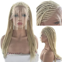 white black straight wig Australia - Fashion 613 Blonde Braidied Synthetic Lace Front Wigs Long Straight Heat Resistant Hair Box Braids Women Wigs for Black Women Free Part