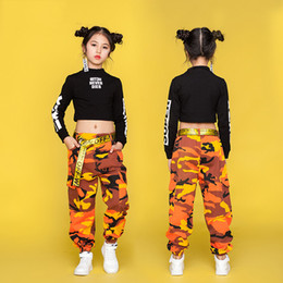 clothes for hip hop dancing Australia - Hip Hop Costume Kids Street Dance Clothing Black Long Sleeve Tops Camouflage Pants Children Jazz Dance Costumes For Girls DN1741