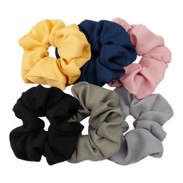 $enCountryForm.capitalKeyWord UK - Solid Chiffon Wide Scrunchies For Ponytail Holder Lady Elastic Headbands Women Tie Gum For Hair Accessories