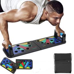 venda por atacado em estoque Puxe Conselho 9 em 1 Body Building Início Comprehensive Fitness Equipment Exercício Fodable ajustável Push-up Stands treino de ginásio
